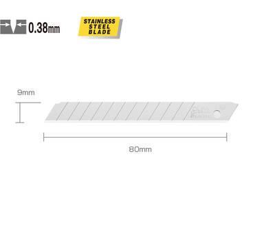 OLFA AB-50S Dar Standart Paslanmaz Maket Bıçağı Yedeği 50'li Tüp
